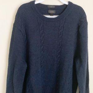 J. Crew Slim Merino Wool Elbow Patch cable sweater
